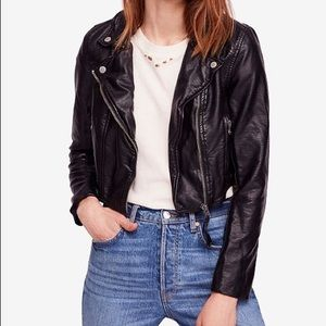 Free people faux leather moto jacket